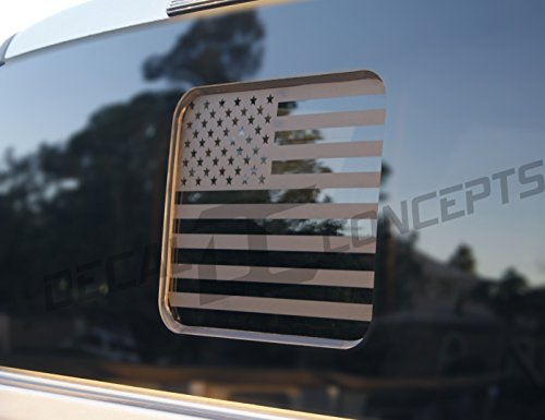 (F-150 / F-250 Flat Black American Flag Rear Window Accent Decal (F150 2015-2017) (F250 2017-2018))
