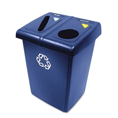 (3 Pack Value Bundle) RCP1792339 Glutton Recycling Station, Two-Stream, 46 gal, Blue