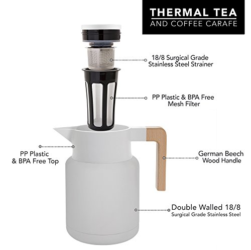 Large Thermal Coffee Carafe - Stainless Steel, Double Walled Thermal Pots For Coffee and Teas by Hastings Collective - White, Vacuum Carafes With Removable Tea Infuser and Strainer | 50 Oz. by Hastings Collective (Image #3)'