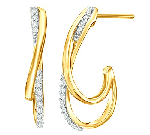 White Natural Diamond Overlay J-Hoop Earrings in 10k Solid Yellow Gold (0.2 Cttw) ()