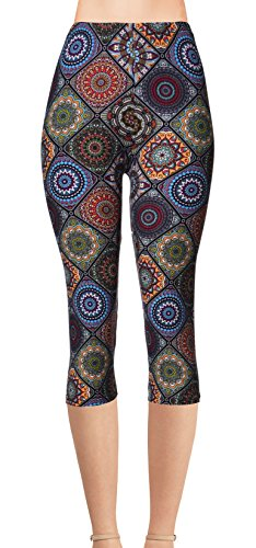 Regular Size Printed Brushed Capris (Circle of Imagination) Circles Capri Pants