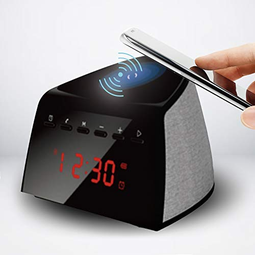 IHip 5W Qi Wireless Charging Alarm Clock Bluetooth Speaker with FM Radio for iPhone X iPhone 8/Plus, Samsung Galaxy Note 8/ S8/ Plus, S7 Qi-Enabled Device