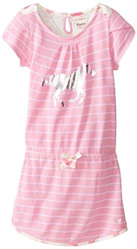 Hatley Little Girls' Petal Sleeve Dress Hearts and Horses,Pink,4
