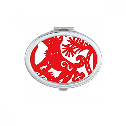 DIYthinker Paper-cut Dog Animal China Zodiac Oval Compact Makeup Mirror Portable Cute Hand Pocket Mirrors Gift by DIYthinker
