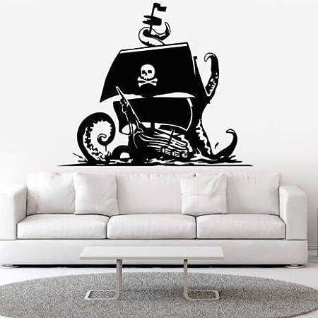 yuandp Barco Pirata Arte de la Pared Tatuajes de cráneo Huesos ...