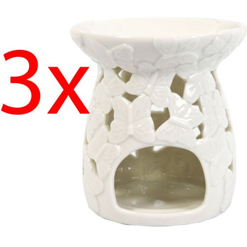 BARGAINS-GALORE 3 X WHITE BUTTERFLY OIL BURNER CERAMIC TEA LIGHT GRANULES TART WAX AROMATHERAPY OOTB