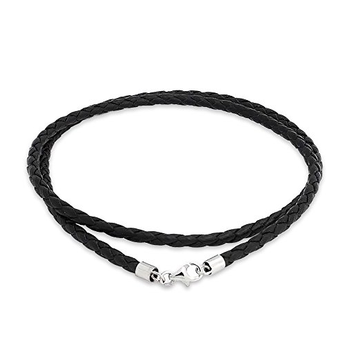 Bling Jewelry 3mm Black Braided Leather Cord Chain Sterling Silver Necklace 24in