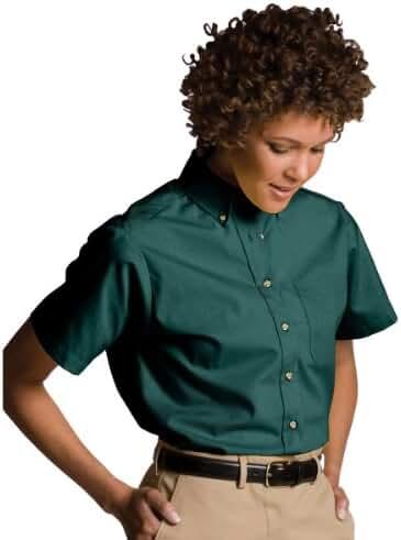 Edwards Garment Women's Button Down Collar Short Sleeve Poplin Shirt