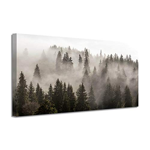 Foggy Forest Canvas Wall Art: Landscape Mountain Artwork Photographic Print Pictures for Bedrooms(40