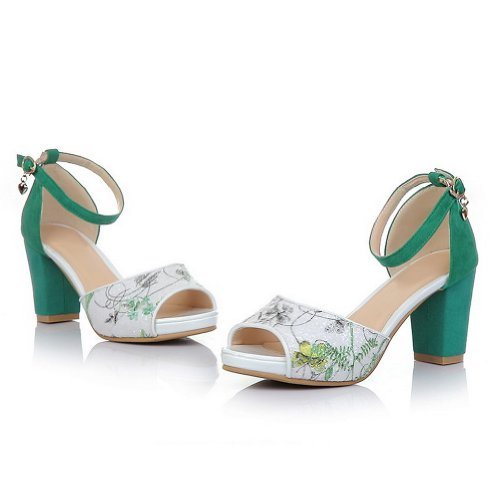 AmoonyFashion Womens Open Toe Kitten Heel Sheepskin Frosted Assorted Colors Sandals with Sequin Green pNk35xI1