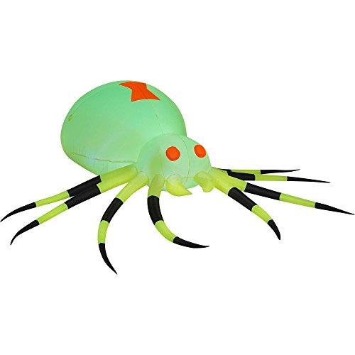 Gemmy Airblown Inflatable 3.5' X 11.5' Giant Neon Green Spider Halloween - St Myer George