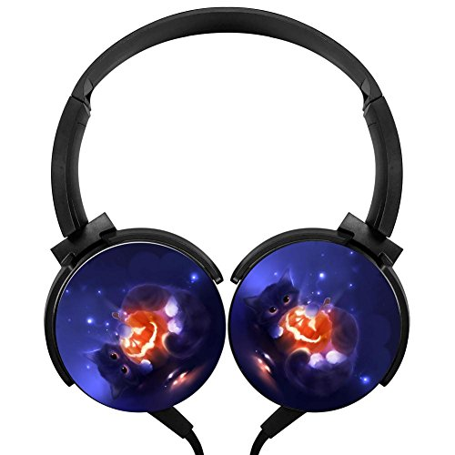 POJIA Halloween GatitoStereo subwoofer Heavy Bass Wired Headsets with Microphone Sport Music Earphones Portable Headphone Headsets -