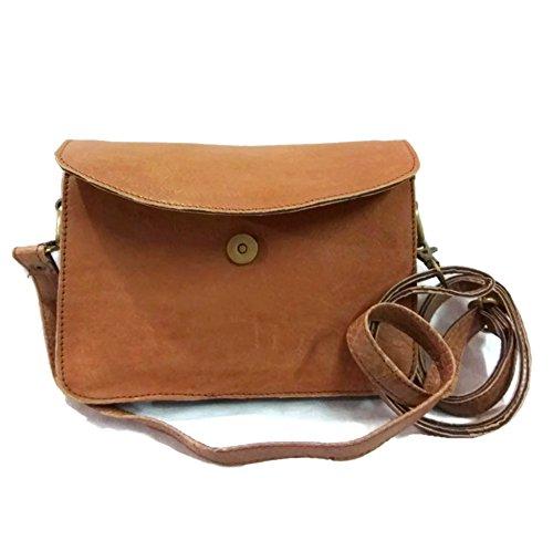 Light Brown Color Medium size Vintage style detachable strap Leather Handmade Crossover Shoulder Messenger Sling Bag cum Clutch