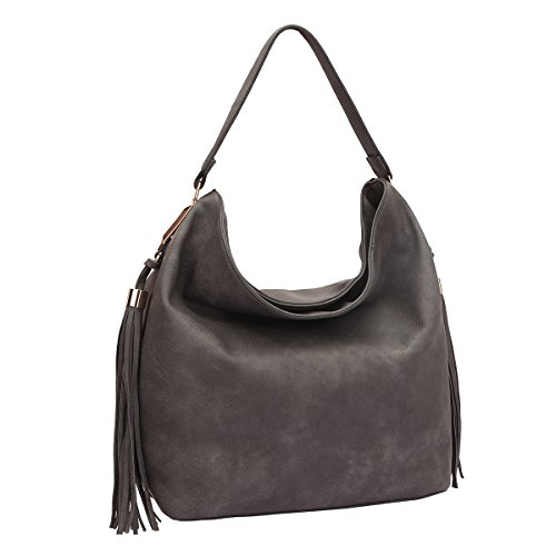 (MKP Collection Fringe Studded Faux Leather Hobo Bag~Designer Satchel~Fashion Tote~Beautiful woman handbag (7006) Grey)