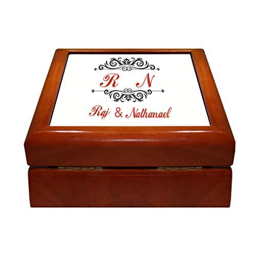Style In Print Personalized Custom Text Couple Wedding Family Wood Organizer Jewelry Box 4