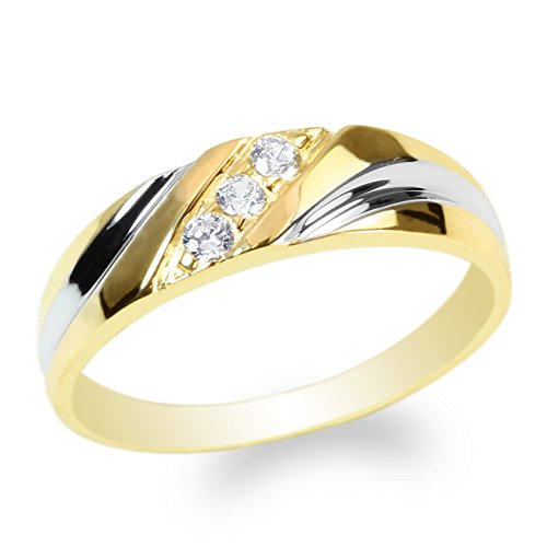 Tone Band Wedding Two Ladies (JamesJenny Ladies 10K Yellow Gold Round CZ Beautiful Two Tone Wedding Band Ring Size 10)
