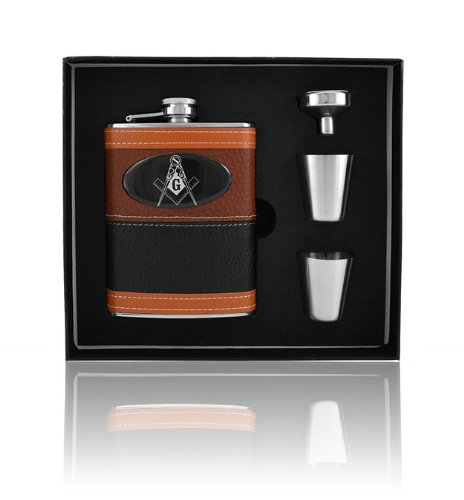 Mason Masonic Brown Leather Wrap 8oz Stainless Steel Flask, Funnel and Shot - Wrap Stainless Leather Steel Flask