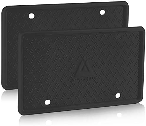 2 Pack Silicone License Plate Frame, License Plate Holder, Universal American Auto Black License Plate Frame Rust-Proof, Rattle-Proof, Weather-Proof (Black)