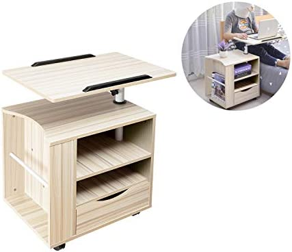SIDUCAL Multifunctional Bedside Table Height Adjustable Swiel Wooden Nightstand