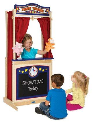 GuideCraft Kids Indoor Playschool Kindergarden Furniture Décor Accessories Set Wooden Floor Theater (Puppet Set Wooden Theater)