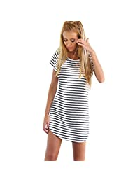 Changeshopping New Women Crew Neck Short Sleeve Striped Loose T-Shirt Mini Dress