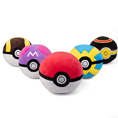 PoKéMoN Pokéball Plush 5-Pack - Includes Poke, Master, Ultra, Quick, Luxury Ball - Soft Stuffed Pokéballs with Weighted Bottom - 4
