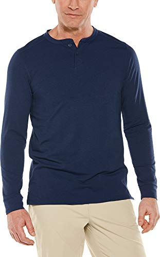 Coolibar UPF 50+ Men's Long Sleeve Mojave Henley - Sun Protective (Large- Navy) -