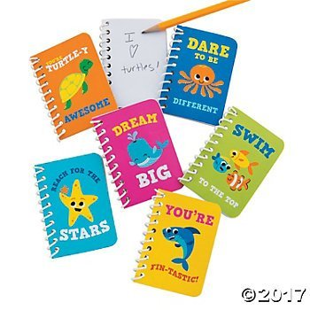 2 Dozen (24) UNDER the Sea Spiral NOTEBOOKS - Encouragement - REACH for the Stars - STARFISH Octopus Turtle PARTY FAVORS Classroom Give-aways -