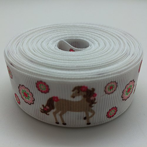 PEPPERLONELY 10 Yards 22mm (7/8 Inch) Horse Grosgrain Ribbon - Horse Ribbon