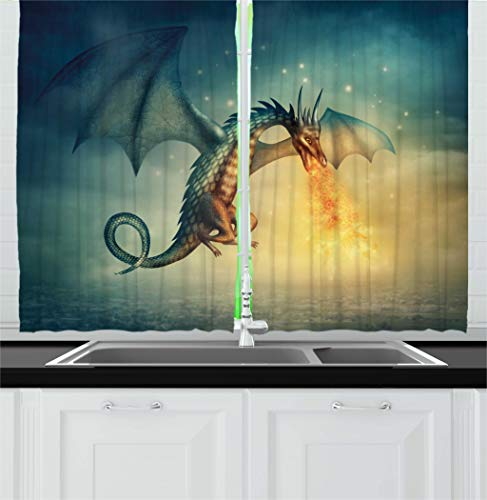 Ambesonne Fantasy Kitchen Curtains, Legendary Dragon in the Sky with Magical Flame Fairytale Creature Surreal Design, Window Drapes 2 Panels Set for Kitchen Cafe, 55W X 39L Inches, Teal Yellow ()