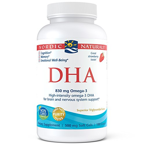 Nordic Naturals DHA Omega-3 - Brain and Nervous System Support Supplement, Strawberry Flavored, 180 Soft Gels