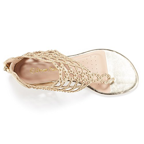 Rhinestones Sandals Jewel Fashion GOLD Strap Flat PAIRS Ankle Design Women's 08 DREAM qzI4n
