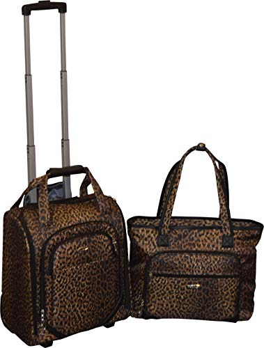 Kemyer 16 Inch Wheeled Underseater Carry-On & Laptop Tote Set (Leopard)