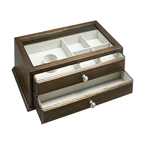 AmazonBasics Wooden Jewelry/Watch Box with Glass Top - 2-Drawer, Walnut