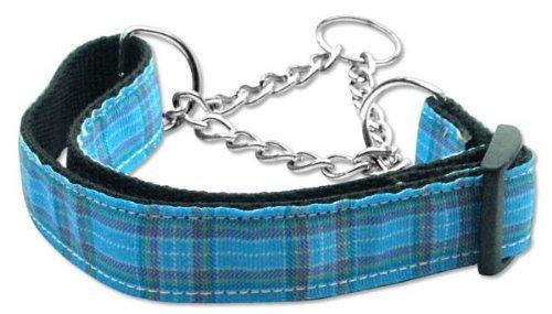 Mirage Pet Products Martingale Plaid Nylon Collar, Medium, Blue