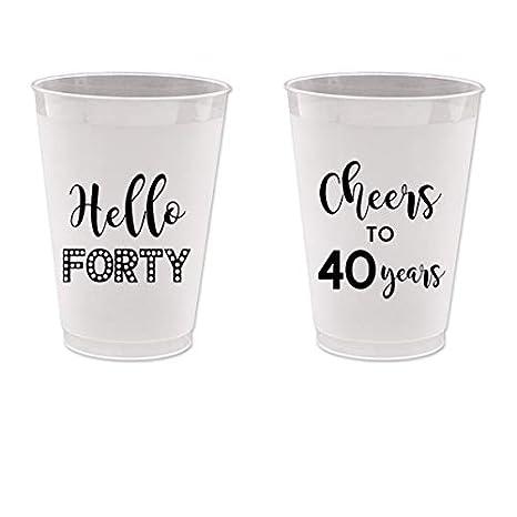 Amazon.com: 40º cumpleaños Frost Flex vasos de plástico ...