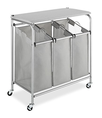 Whitmor 3 Section Rolling Laundry Sorter with Folding Station - Ironing ()
