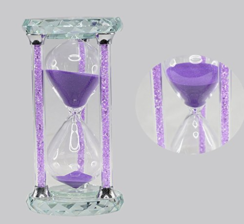 30 Minutes Hourglass Timer, SZAT Romantic Crystal Diamond Sandy Clock for Office Desk, Coffee Table, Book Shelf, Curio Cabinet, Christmas Birthday Valentine's Dating(Gift Box Pack of 1, Purple Sands)