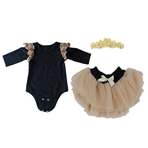 Fityle Dulce Vestido de Mangas Largas con Diadema Accesorio Ropa para 22 - 23 Pulgadas Bebé Recién Nacido Doll