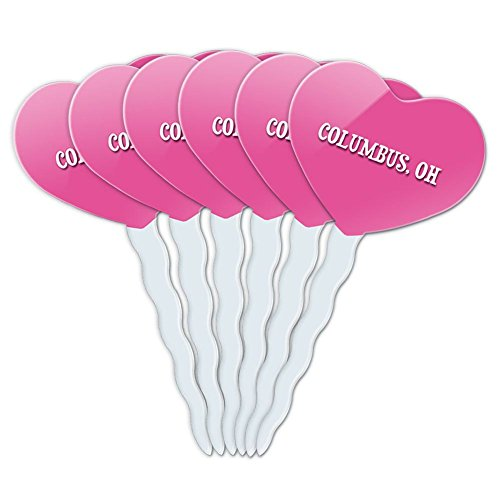Pink Heart Love Set of 6 Cupcake Picks Toppers Decoration City State Ca-Ev - Columbus (Party City Columbus Oh)