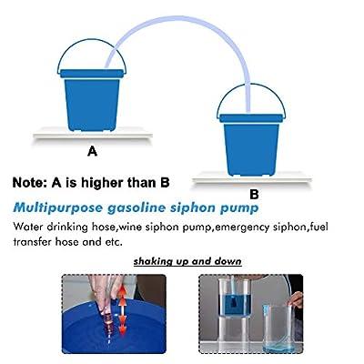 A ABIGAIL Gas Siphon Hose Pump Shaker Siphon for Gasoline Fuel Water Transfer Safe Multi-Purpose Self Priming Pump 6 Foot High Grade Hose 1/2