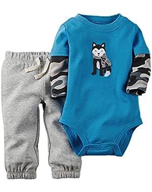 Carter's Baby Boys' 2-Piece Bodysuit & Pant Set (24 Months, Blue/Husky)
