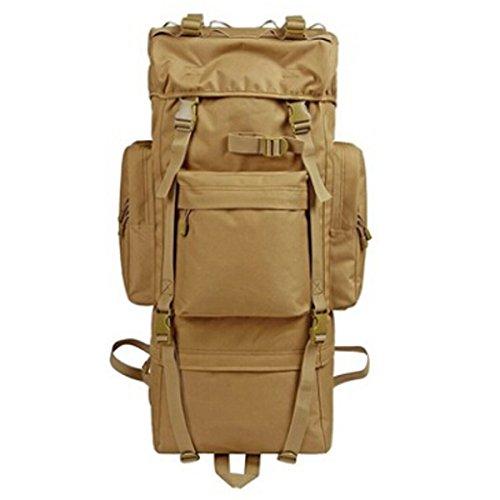 Outdoor-multifunktionale Bergsteigen Und Abenteuer Rucksäcke Große Kapazität 56-75L Wandern Rucksack Oxford Tuch Tactical Backpack Brown
