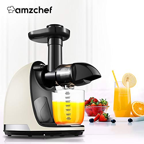Slow Juicer,AMZCHEF Slow Masticating Juicer Extractor Professional Machine with Quiet Motor/Reverse Function,Cold Press Juicer with Brush,for High Nutrient Fruit & Vegetable Juice by AMZCHEF (Image #7)