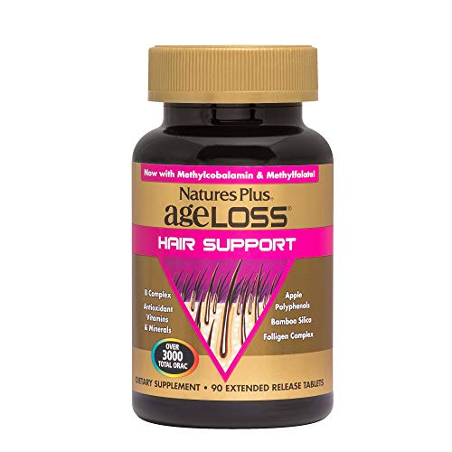 NaturesPlus AgeLoss Hair Support - 90 Tablets, Extended Release - Hair Health Support Supplement, Antioxidant, Anti-Aging, Anti-Inflammatory - Gluten-Free - 30 Servings