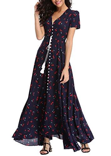 VintageClothing Women's Floral Print Maxi Dresses Boho Button Up Split Beach Party Dress, Navy&Cherry Print, (Flower Print Maxi Dress)