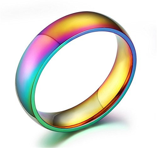 GAMT Unique Titanium Steel Rainbow Color Ring For Men Women Women Jewelry Size 8