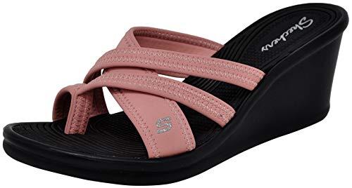 Pink Thongs Sandals Shoes - Skechers Cali Women's Rumblers-Beautiful People Wedge Sandal, Mauve, 11 M US