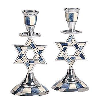 Aluminum Shabbat Star of David Candlesticks with Blue and White Decorative Inlay / Set of 2