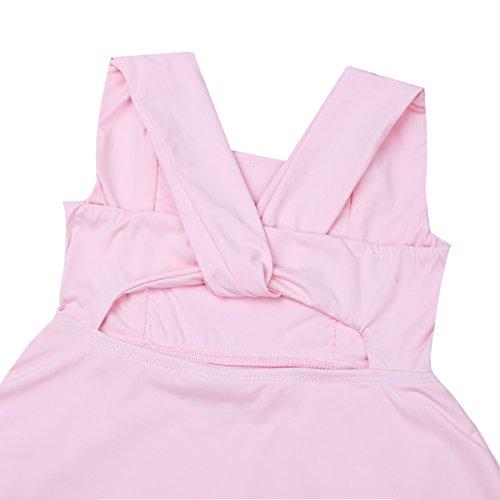 Tiaobug Balletto Vestito Ragazze Nuovo Rosa Body Spaccatura Irregolare Pratica Di Incrociato Ginnastica La Ballo URR1xd4qn